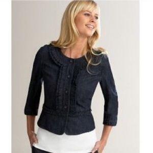 LOFT ruffle cropped jean jacket 2